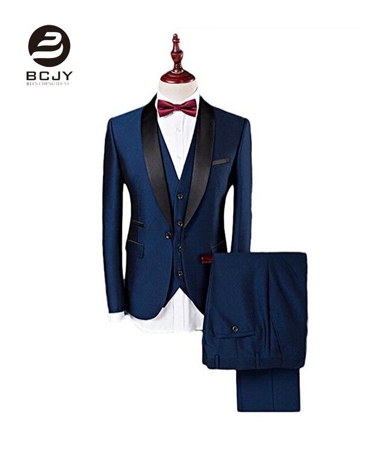 Royal Blue Shawl Lapel Wedding Suits Jacket Vest Pants Tie Men Suits Groom Tuxedos Groomsman Best Man Suits terno masculino