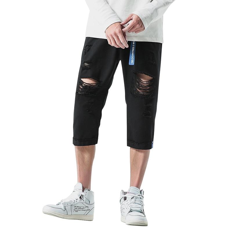 2018 Men Jeans Stretch Destroyed Ripped Design Skinny Jeans For Men calf-length pants Man Jogger Short hole denim pants 40