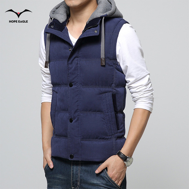 2016 Men's Vest men Thicken Waistcoat Mens Jacket Sleeveless veste homme Winter Fashion Casual Coats Male Hooded Cotton-Padded