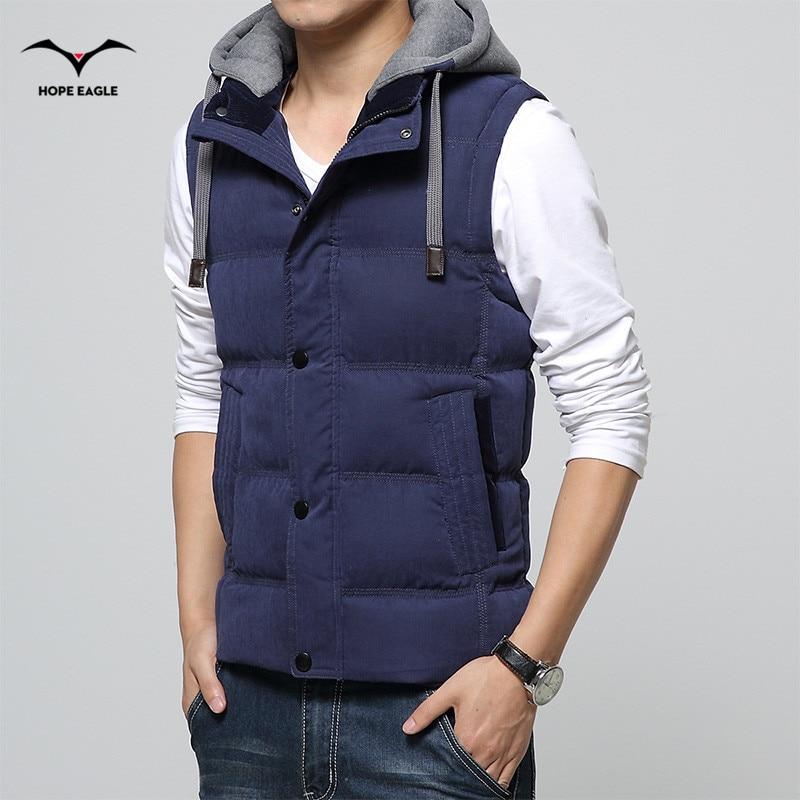 2018 chaleco de los hombres de los hombres espesar chaleco para hombre chaqueta sin mangas veste homme moda de invierno abrigos casuales con capucha de algodón acolchado