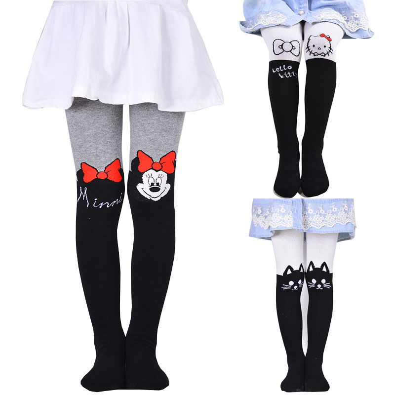2017 Girl's Minnie Strumpor Fashion Tight Solid Söt Cartoon Designs Barn Flickor Strumpbyxor Flickor Strumpbyxor Kawaii Strumpbyxor