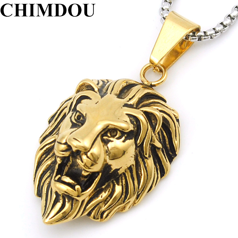 CHIMDOU Rock Style Gold Color Lion Head Stainless Steel Domineering Roaring Lion Pendant Necklace Men Jewelry,AP1630