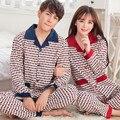 Casais pijamas de algodão de manga comprida sleepwear tamanho grande primavera e outono bonito dos desenhos animados kigurumi pijamas XXXL
