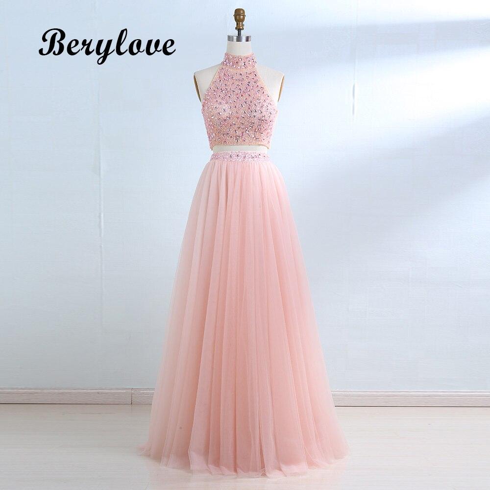 BeryLove Pink Two Piece Evening Dress 2018 Long High Neck Beaded ...
