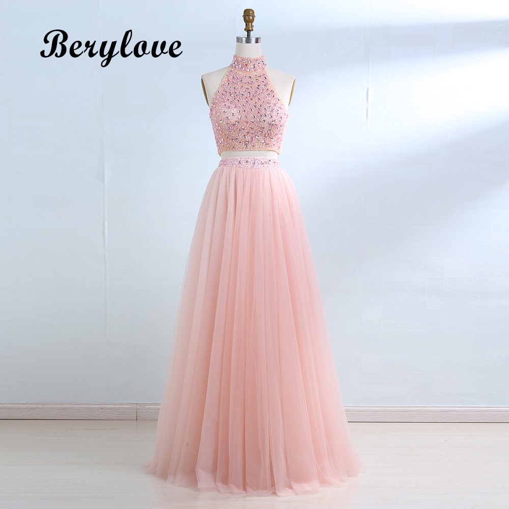 BeryLove Pink Two Piece   Evening     Dress   2018 Long High Neck Beaded Tulle Formal   Evening     Dresses     Evening   Gowns 2 Piece Prom   Dresses