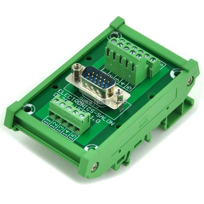 D-SUB DB15HD Male DIN Rail Mount Interface Module, Breakout Board.