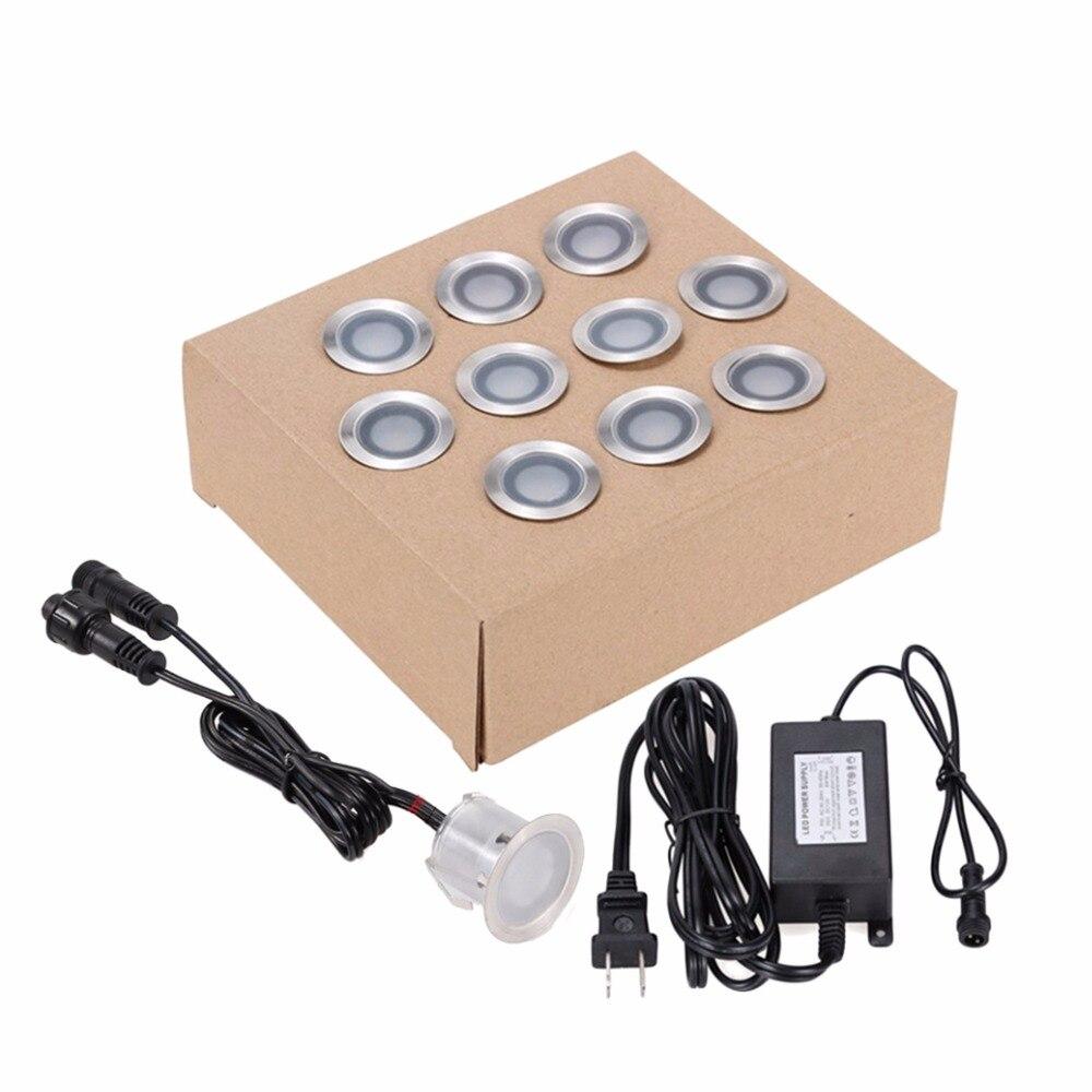 10 pièces lampe d'extérieur LED étanche en acier inoxydable encastré lampe enterrée DC12V spot escalier voie jardin lumière