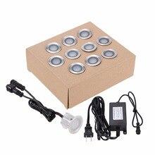 10PCS LED Deck Light Waterproof Stainless Steel Recessed Underground Lamp DC12V Spotlight Stair pathway Garden Light