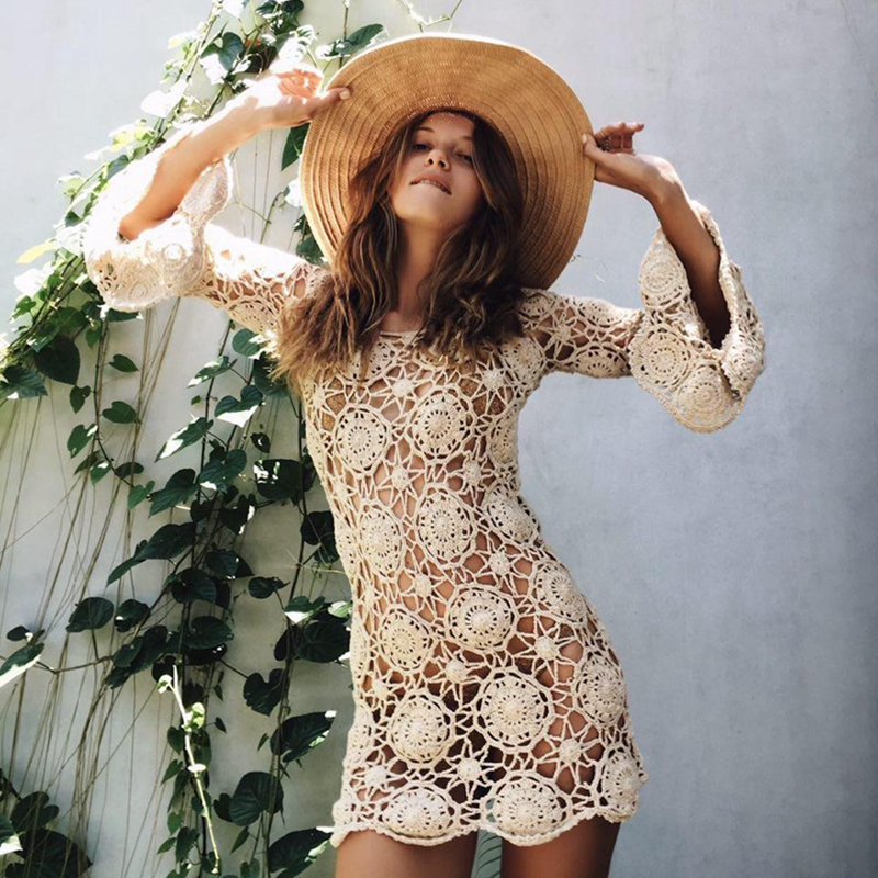 0b5ca82f5568e 2018 Summer Bikini Cover Up Women Beach Dress Sexy Hollow Crochet Mini  Dress Flare Sleeve O