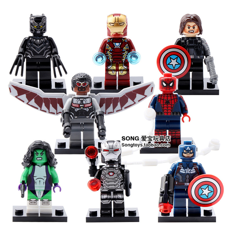 8pcs Avengers Captain Aemrica Falcon Iron Man She Hulk Winter Soldier Black Panther Building Blocks minifig