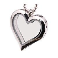 Cadena libre y encantos! 25mm Corazón de cristal plata magnética foto flotante Locket memoria 316L acero inoxidable