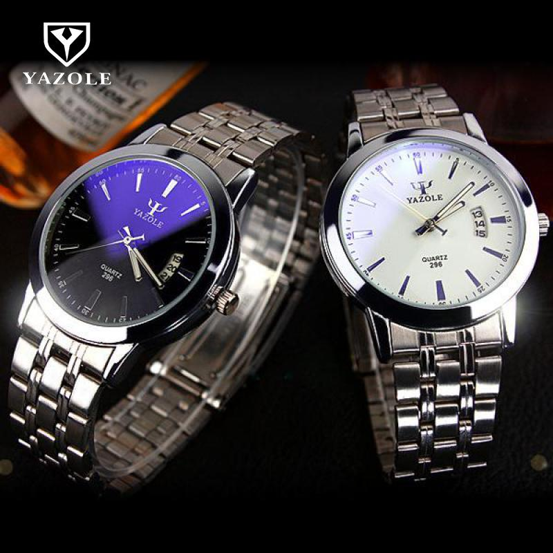 Fashion Full Steel Black White Dial Wrist watch watches Business Elegant Quartz Watches for Men Male Women Ladies with Calendar fashion full steel black white dial wrist watch watches business elegant quartz watches for men male women ladies with calendar