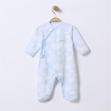 Coveralls String Closure V-Neck Long-Sleeves Cute Floral Cool Absorbent Breathable Jumpsuits 0-6 Months