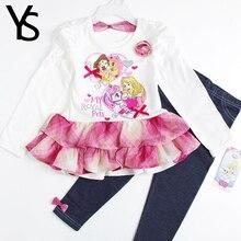 2-4T Little Girls Clothing Set Toddler Girl Clothes Set Long Sleeve T Shirt Dress +Long Pants Spring Fall Summer Thin Fabric