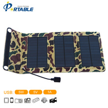 5V 1A Small Usb Solar Panel For Travllers Camping 5W Portable folding Panel Solar Charger Bag for Phone/ipad/PSP/Camera PETCS05A