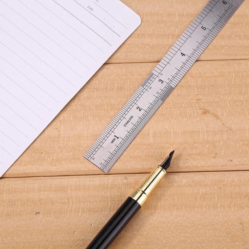 Металлическая прямая Линейка из нержавеющей стали, точный двухсторонний измерительный инструмент 150 мм/200 мм/300 мм/400 мм/500 мм