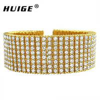 Free Shipping Men S New Yellow Black Gold Finish 8 Row Diamond Simulate Bracelet 8 14mm