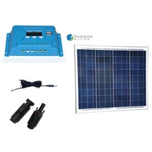 Kit Fotovoltaico Solar 12v 50w Battery Charger Controller 12v/24v 10A Camping Caravan Motorhome Phonel Fan Lamp