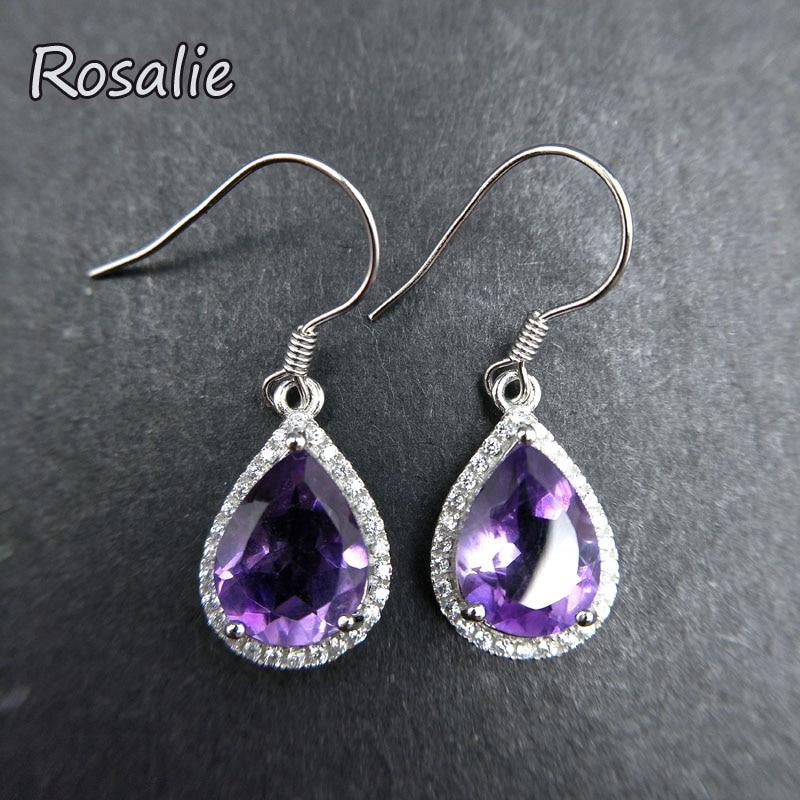 Rosalie,925 Sterling Silver 5.5ct african amethyst Drop Earrings For Women pear shape Gemstone Wedding Dangle Earring