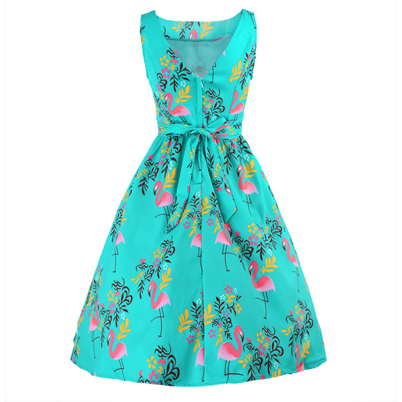 HimanJie Women summer Flamingo floral Print Vintage Dress Retro Rockabilly  Robe Belt Feminino Vestidos Swing A Line Party Dress-in Dresses from Women s  ... 3bc4d484c7ba