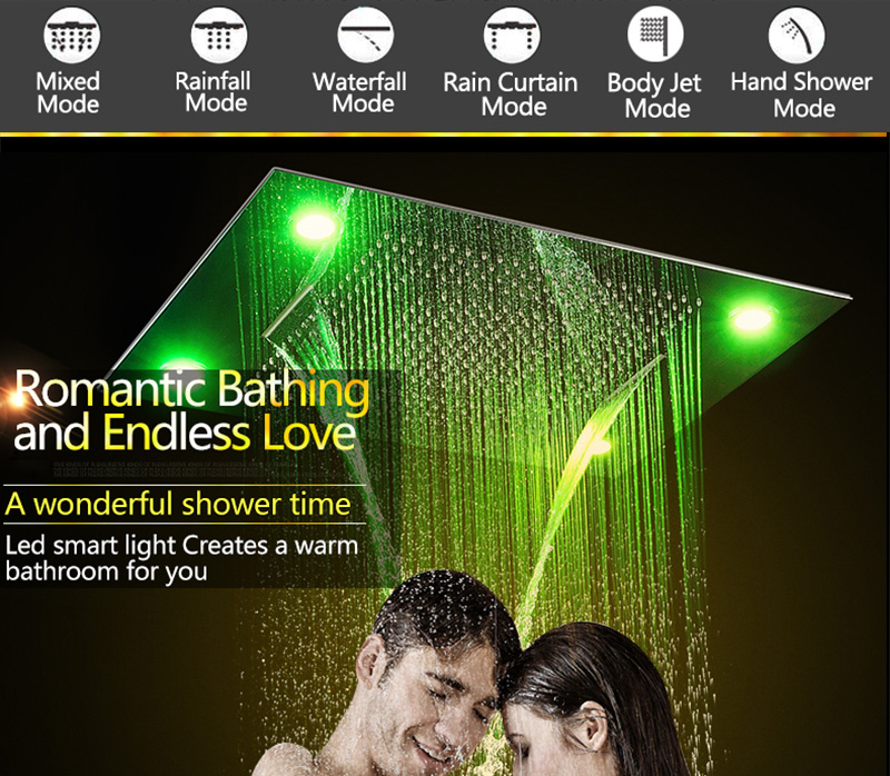Bathroom Fixture Shower Faucets Ceiling Mounted Waterfall Mist Shower Head Big Rain LED Shower Set High Flow Thermostatic Bath (9)