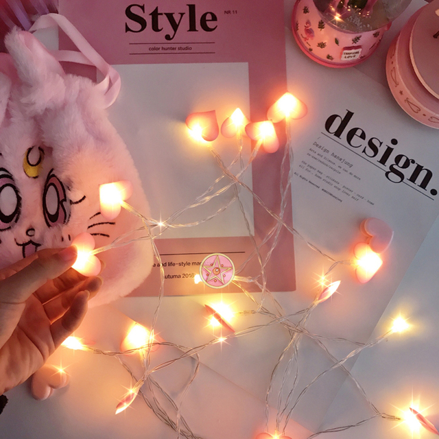 Fashion Heart Shape Satin String Light Romantic LED Bedroom Decoration Photography Props Wedding Party Ornaments