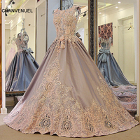 LS00981 Long Evening Dresses For Wedding Party Grey Satin Ball Gown Luxury Beaded Appliqued Lace Long