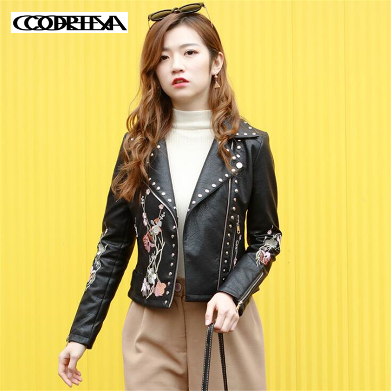 Autumn New Fashion Women Motorcycle   Leather   Jacket Flower embroidery Coats Streetwear Moto Faux   Leather   Coat Pu   leather   Outwear