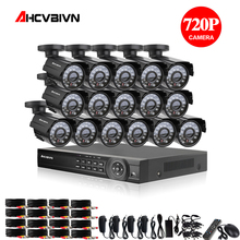 16 pcs 1.0mp 총알 ahd 야외 방수 카메라와 16ch cctv 시스템 ahd 1080 p dvr 16ch 감시 보안 키트