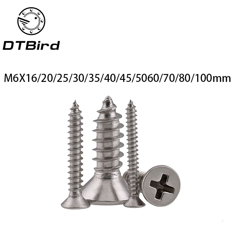 GB846 M6 Cross Recessed Phillips Countersunk Flat Head Self-tapping Wood Screws For Laptop 304 Stainless Steel LD010 25pcs 304 stainless steel countersunk head phillips screws phillips flat head screw m5 10