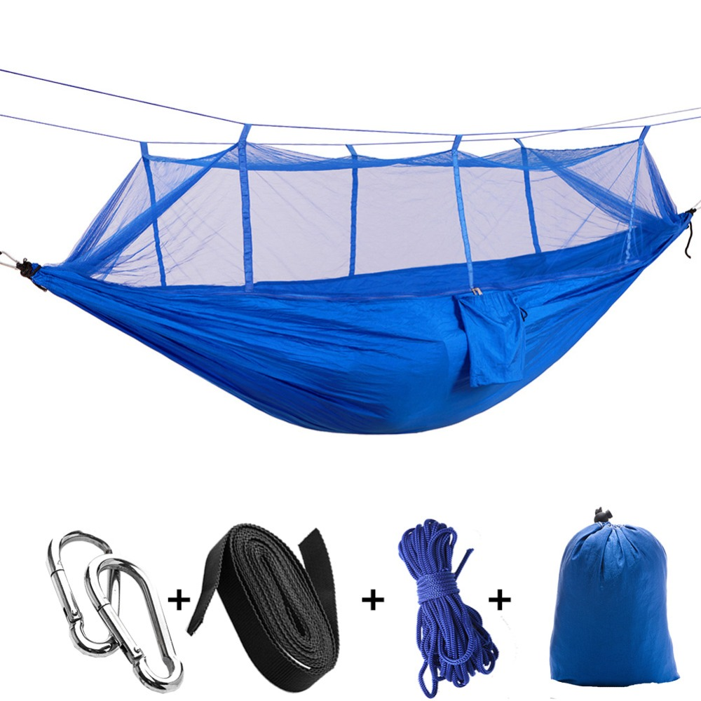 Portable Outdoor Camping Netted Hammock Survival  Anti Mosquito Hanging Travel Garden Sleeping Bed 1 2 Person With 2 Straps|netting hammock|hammock survival|sleeping bed - title=