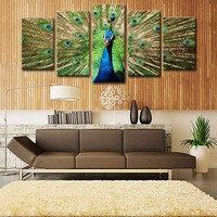 5 Pcs Animal Wall Painting Green Peacock Canvas Painting Big Size Top Home Decoration Wall Pictures Living Room Decor