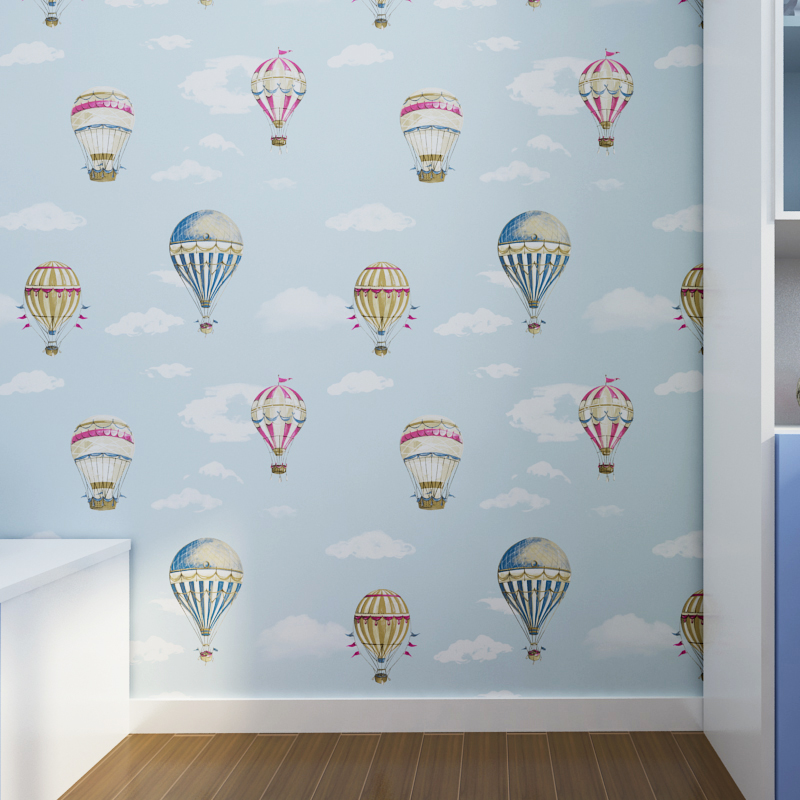 Environmental Protection Children Non-woven Wallpaper Cartoon Bedroom Wallpaper Boy Blue Sky White Cloud  Hot Air Balloon