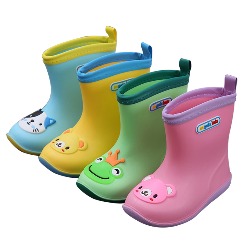 Waterproof Children Rainboots Baby Rubber Rain Shoes Warm
