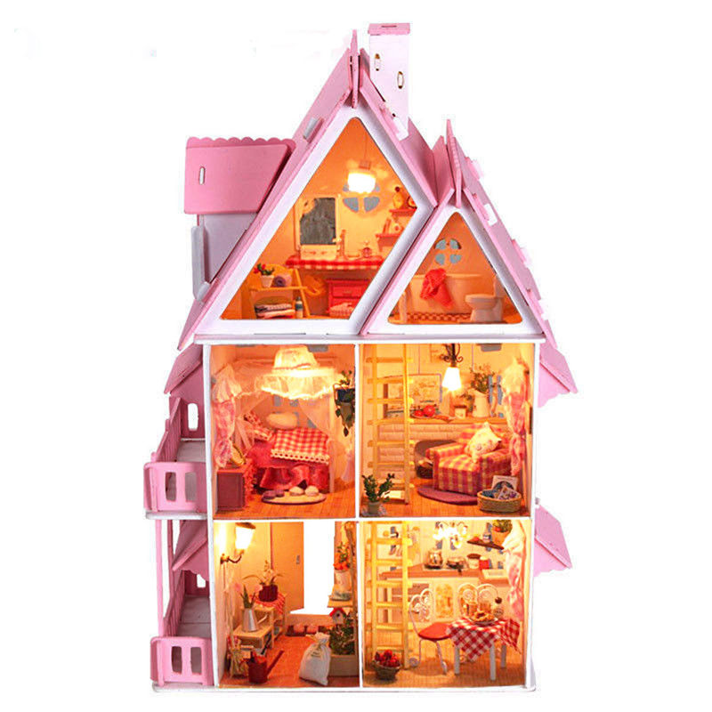 iiE Create DIY Lovely Pink Princess Wood Dream House With Light Miniature And Furniture Large Villa