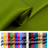 SILK STRETCH SATIN Fabric 108cm width 16momme/95% Natural Silk+5%Lycra Fabric Chinese Silk Fabric Wholesale 1M FreeShipping61 90