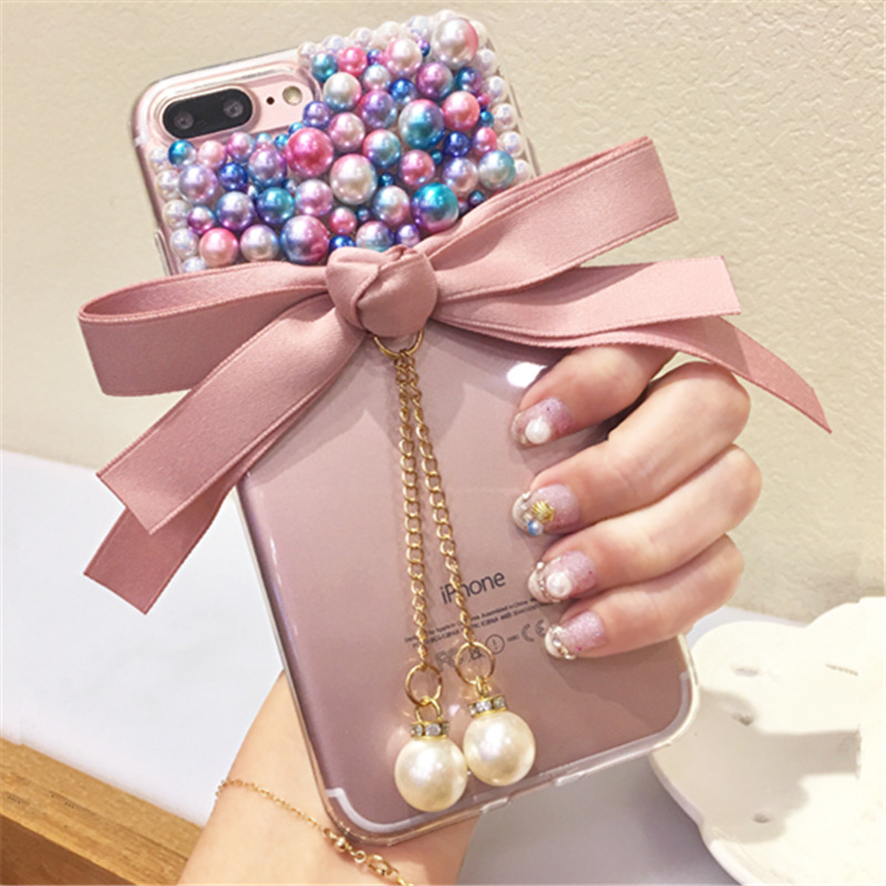 Case For Huawei P8 P9 P10 Plus P20 Lite pro selfie P Smart Luxury glitter Rhinestone bow pearl Phone case soft back cover
