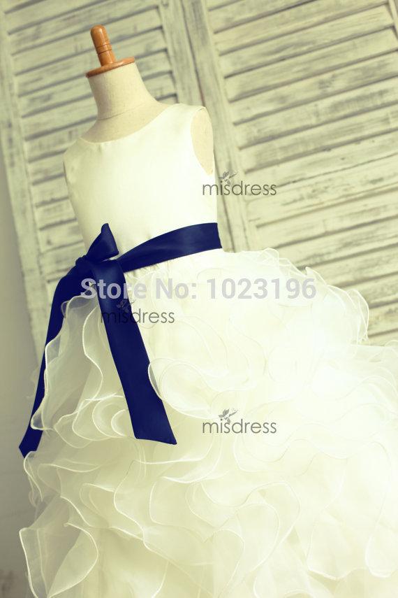 Ruffled Flower Girl Dresses in Blue