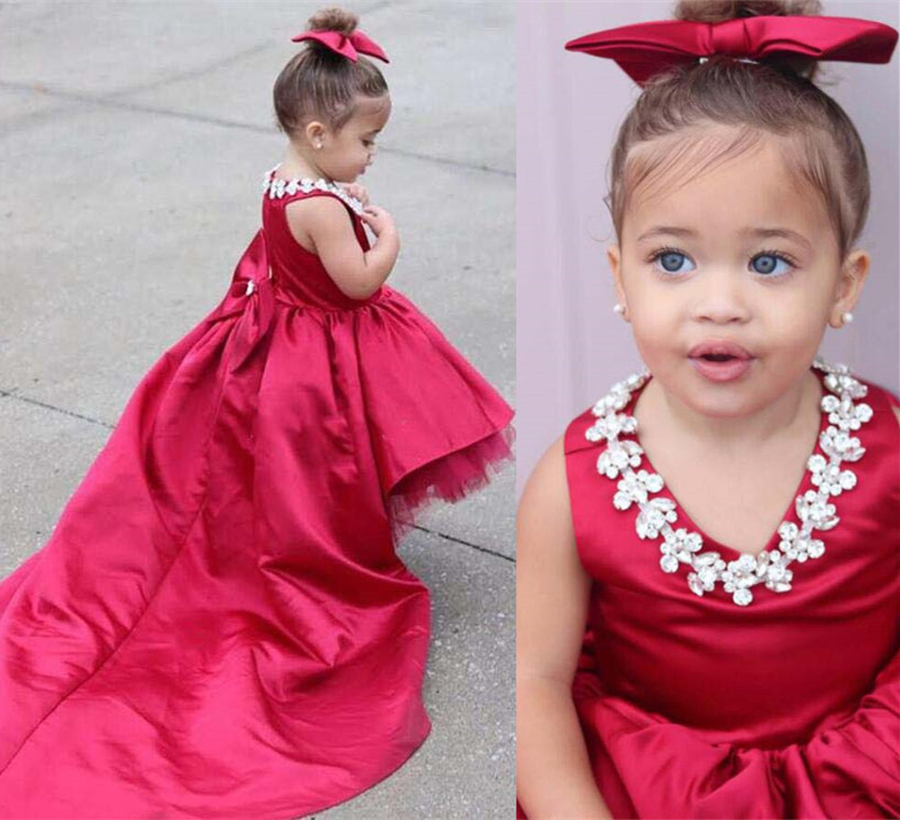 High low Red satin V-neck toddler kids pageant gown baby first birthday party dress with long train crystals and headpieceHigh low Red satin V-neck toddler kids pageant gown baby first birthday party dress with long train crystals and headpiece