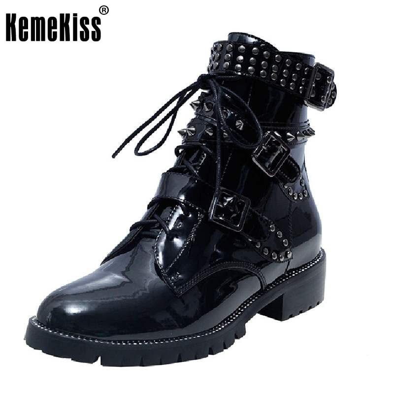 Kemekiss модная зимняя обувь Для женщин настоящие кожаные ботильоны Для женщин с перекрестными ремешками Agrafe Заклёпки пинетки Гладиатор Botas ра...