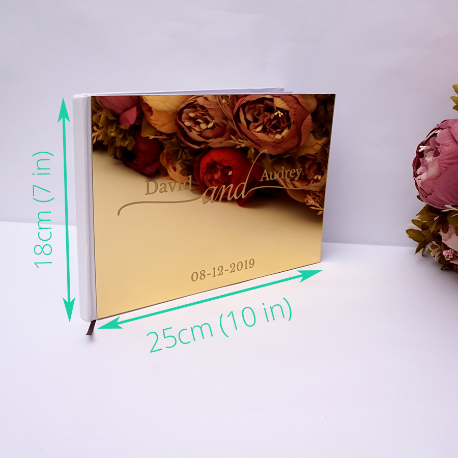 25x18cm Personalized Custom Wedding Signature Guest book Acrylic Mirror White Blank Party Favors Photo Album in Signature Guest Books from Home Garden