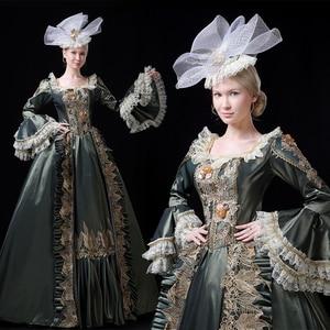 Бальное платье 18-го века с изображением исторического происхождения, платье в стиле рококо, бальное платье для маскарада, платья для театра