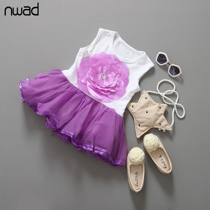 NWAD Baby Girl Dresses Cute Tutu Dress Fashion Princess Sleeveless Big Flower Dress For Kids Newborn Baby Party Dresses FA002