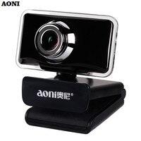 AONI USB Webcam Clip-on HD 720P Computer Web Cam With Noise Reduction Microphone For Desktop Laptop Smart TV LED Light Cameras