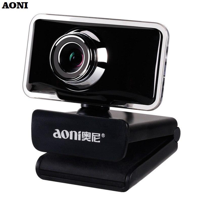 AONI USB Webcam Clip-on HD 720 P ordinateur Web Cam avec Microphone de réduction de bruit pour ordinateur portable de bureau Smart TV lumière LED caméras