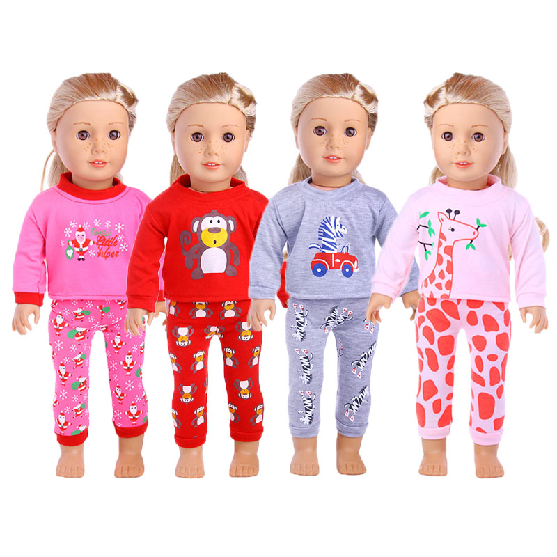 Doll Unicorn Pajamas 2Pcs/Set Nightgowns For 18 Inch American&43 Cm Baby New Born Doll For Our Generation Christmas Girl`s Toy