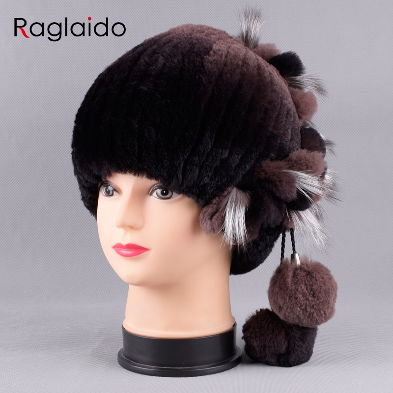 Raglaido Real Fur Hat Women Floral Rex Rabbit +Fox Fur +Ballls Winter Fur Hats Hand Sewing Inner Woolen Beanies LQ11238