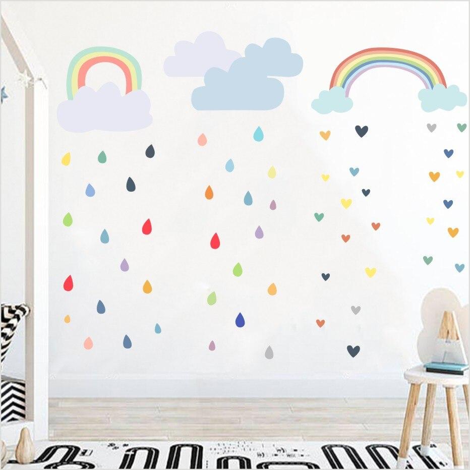 3 Renkler Gökkuşağı Bulut Yağmur Damla Sanat Duvar Sticker çocuk