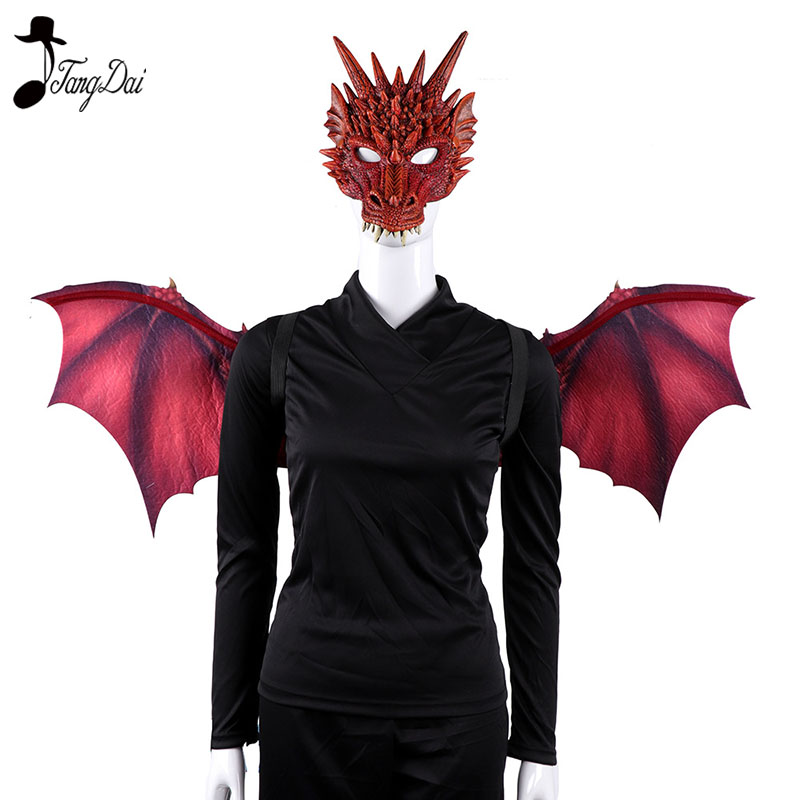 Adult Boy Girl New Year Decoration Carnival Party Animal Costume Dragon dinosaur Cosplay Masquerade Face Mask and Wings  anime