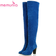 MEMUNIA 2017 new high quality lady shoes suede over the knee boots women thick high heels autumn winter thigh high women boots